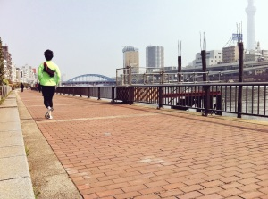 running along Sumida River