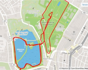running route ueno park